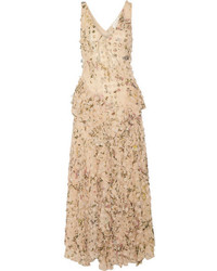 Zimmermann Maples Whisper Appliqud Printed Silk Georgette Midi Dress Neutral