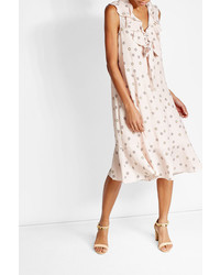 See by Chloe See By Chlo Printed Sleeveless Midi Dress With Silk
