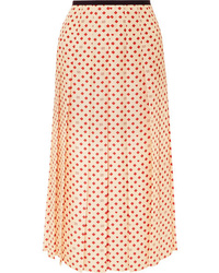 Gucci Med Pleated Printed Silk Twill Midi Skirt