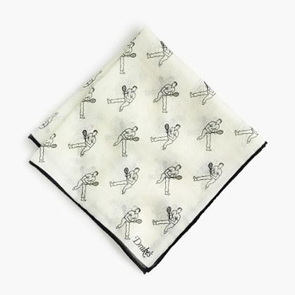 J.Crew Drakes Cotton Silk Pocket Square In Tennis Player Print