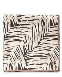Canali Fern Print Silk Satin Pocket Square
