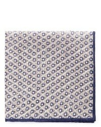 Lardini Rhombus And Square Print Cotton Linen Pocket Square