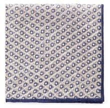 Lardini Rhombus And Square Print Cotton Linen Pocket Square
