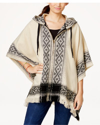 Freshman Juniors Hooded Fringed Sweater Poncho