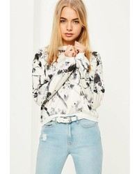 Cream satin oriental print crop top medium 3714223