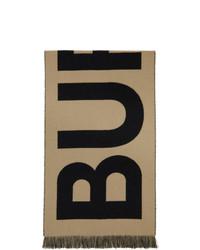 Burberry Beige Wool Jacquard Logo Scarf