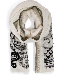Etro Linen Embroidered Scarf