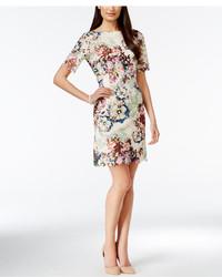 Tahari Asl Printed Boat Neck Sheath Dress