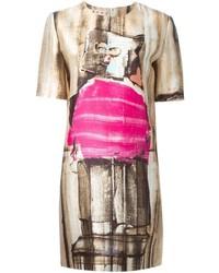 Abstract print shift dress medium 339885