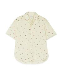 Saint Laurent Frayed Printed Cotton Voile Shirt