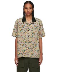 Sacai Beige Floral Print Short Sleeve Shirt