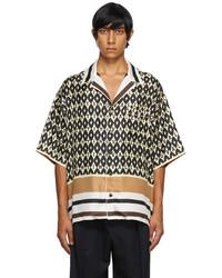 Valentino Beige Foulard Print Bowling Shirt