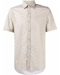 Canali Geometric Print Short Sleeved Shirt