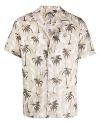 Eleventy Palm Tree Print Cotton Shirt