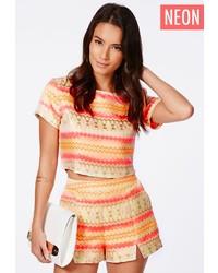 Missguided kelby premium neon aztec shorts medium 160643