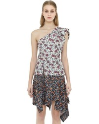 Isabel Marant Ruffled Asymmetric Floral Print Silk Top