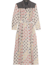 Bottega Veneta Printed Silk Crepe De Chine Midi Dress Cream