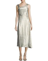 Isabel Marant Wave Print Silk Asymmetric Sleeveless Midi Dress