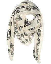 Alexander McQueen Skull Print Chiffon Silk Scarf