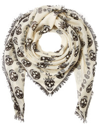 Skull printed silk blend scarf medium 722411