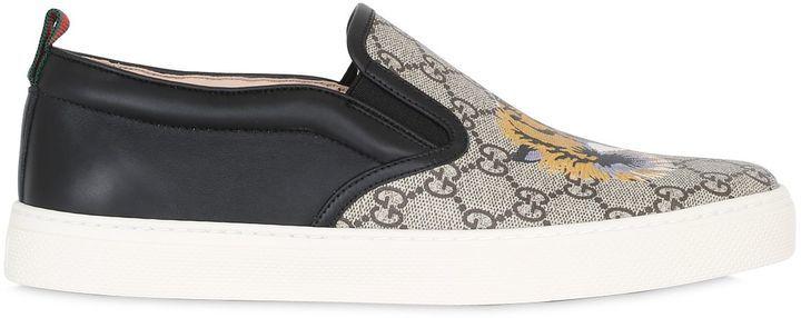 Gucci Tiger Print Gg Supreme Slip On Sneakers