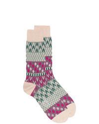 Beige Print Socks