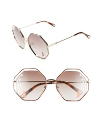 Chloé Poppy 58mm Octagonal Halo Lens Sunglasses