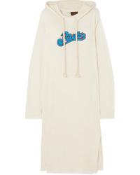 Loewe Paulas Ibiza Logo Appliqud Slub Wool Blend Jersey Maxi Dress