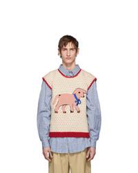 Beige Print Sweater Vest