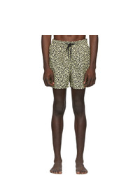 Solid and Striped Beige And Black Leopard The Classic Swim Shorts
