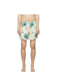 Bather Beige Hawaiian Tiger Swim Shorts