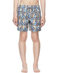 Burberry Blue Logo Check Print Swim Shorts