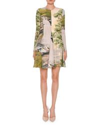 Stella McCartney Long Sleeve Landscape Print Swing Dress Multi