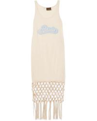 Loewe Paulas Ibiza Embellished Macram Trimmed Silk And Cotton Blend Jersey Dress