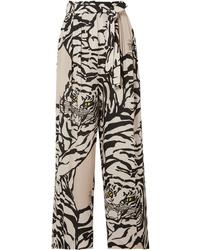 Valentino Pleated Printed Silk Straight Leg Pants