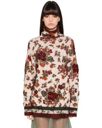 Beige Print Wool Turtleneck