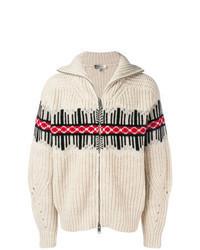 Beige Print Zip Sweater
