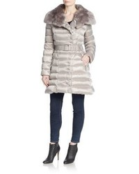 Dawn Levy Izzie Rabbit Fur Collar Belted Puffer Coat