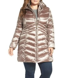 Plus size hooded down polyfill coat medium 1213578