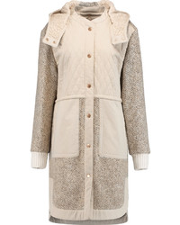 See by Chloe See By Chlo Quilted Cotton And Wool Blend Boucl Hooded Coat