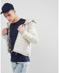 Bershka Hooded Puffer Jacket In Sand