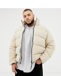 ASOS WHITE Plus Boxy Puffer Jacket In Beige Pepper