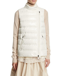 Moncler Jane Mixed Media Quilted Puffer Vest Natural