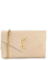 Beige Quilted Leather Clutch