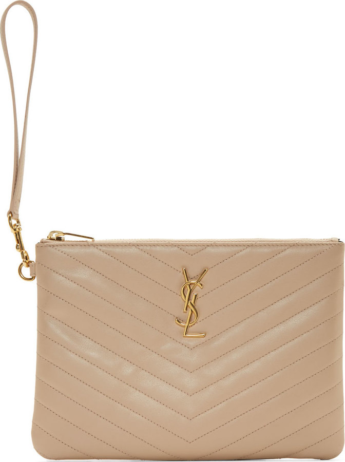 ... Saint Laurent Beige Quilted Leather Monogram Zip Pouch ... f8966b2eb6d39