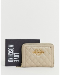 Love Moschino Quilted Dove Grey Large Zip Purse
