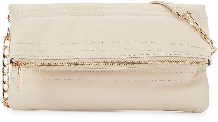 Neiman Marcus Quilted Fold Over Clutch Bag Almond