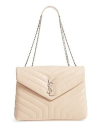 Beige Quilted Leather Satchel Bag