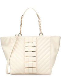 Betsey Johnson Black Tie Affair Quilted Bow Tote Bag Cream