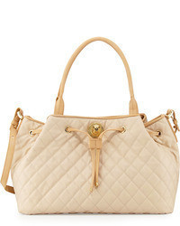 Moschino Borsa Quilted Faux Leather Tote Beigeivory